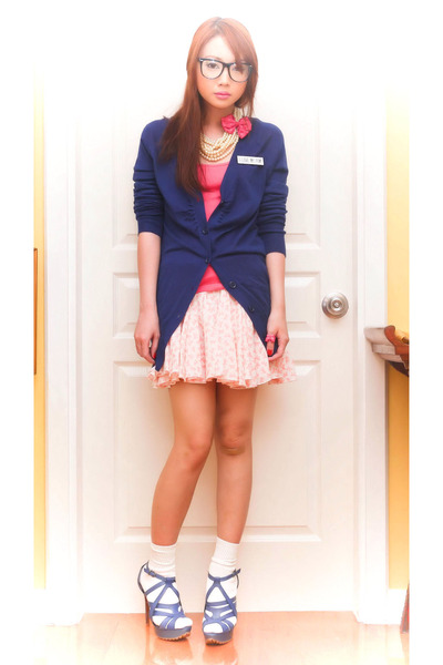 bubble gum From my friends old stuff skirt - blue strappy Tyler heels