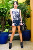 white Topshop top - blue Forever21 shorts - navy Zara boots - dark gray random b