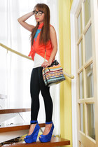 coral apartment 8 blouse - black Zara leggings - orange tonic bag