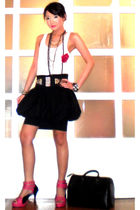 black puffball poufy Luca skirt - pink strappy heels Sinta shoes