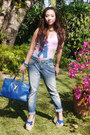 Turquoise-blue-topshop-jeans-teal-ysl-bag-bubble-gum-neon-island-swimwear