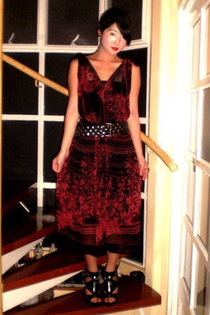 black Anthem shoes - black Mango dress - red Vintage Japanese dress