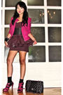 Pink-tinsels-jacket-brown-glitterati-dress-the-librarians-shoes-black-mark