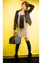 black platform suede Topshop boots - beige plain shift Topshop dress - black Zar