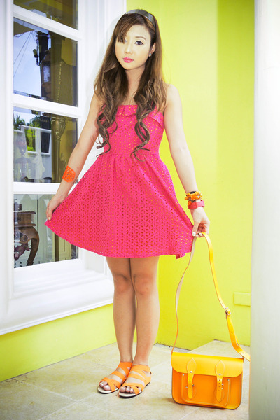 orange Cambridge bag - hot pink Forever 21 dress - orange tonic sandals