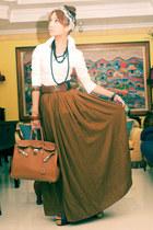 tawny Zara skirt - tawny birkin Hermes bag - black Forever21 belt