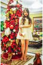 Gold-zara-shoes-off-white-romwe-dress