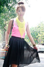 Black-sheinside-skirt-black-tonic-bag-chartreuse-h-m-necklace