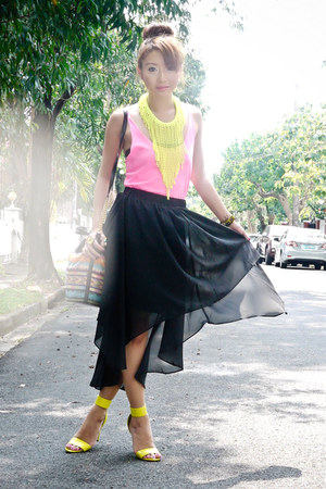 black Sheinside skirt - black tonic bag - chartreuse H&M necklace