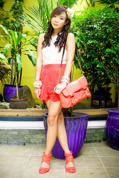 light orange Parisian bag - peach Topshop shorts - light orange H&amp;M heels - crea