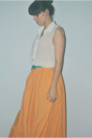 orange maxi skirt Zara skirt - turquoise blue leather Lefties belt