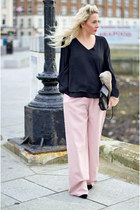 pink wide leg lavish alice pants - black MISS FOXY top
