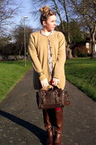 mustard lambs wool Marks and Spencer cardigan - brown Primark boots