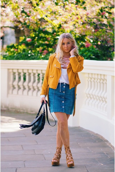 blue mini skirt Missguided skirt - mustard suede Missguided coat
