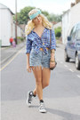 Blue-check-h-m-trend-shirt-blue-denim-vintage-levis-shorts