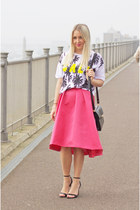 hot pink Coast skirt - black Gucci bag - black Zara sandals - white asos top