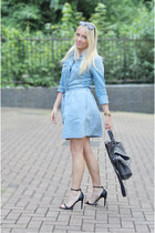 blue denim skirt new look skirt - blue denim shirt H&M shirt