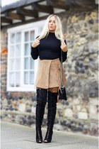 black boy bag Chanel bag - black asos jumper - black Missguided heels