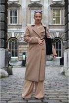 camel Missguided coat - camel wide legged asos pants
