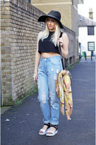 black fedora H&M hat - blue boyfriend asos jeans - gold vintage vintage scarf