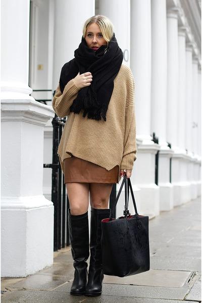 brown mini skirt River Island skirt - black knee boots Topshop boots