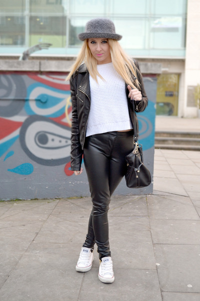 black leather warehouse jacket - silver Topshop hat