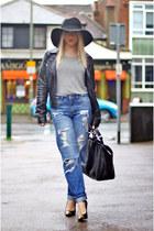 black fedora H&M hat - blue boyfriend asos jeans