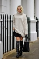 black skirt asos skirt - black knee boots Topshop boots