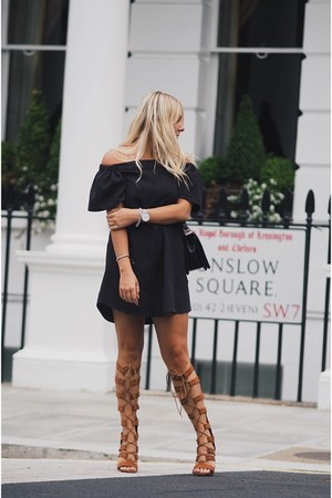 black Missguided dress - dark brown Public desire heels