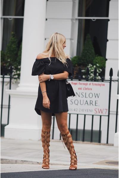 black Missguided dress - dark brown Public desire heels