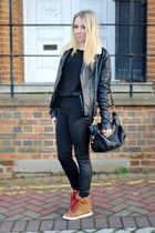 black H&M leggings - brown wedges asos sneakers