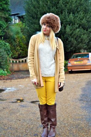 brown fur vintage hat - brown Primark boots - mustard skinny jeans asos jeans