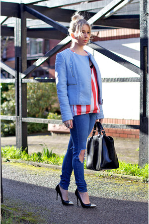 blue ripped skinny asos jeans - black court Deichmann shoes