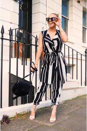 black stripe Wallis jacket - white Missguided shoes - black Wallis bag