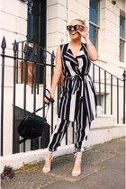 black stripe Wallis jacket - white Missguided shoes - black Wallis bag