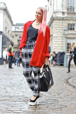 black checkered asos pants - black platforms Topshop wedges