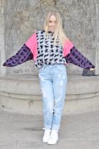 hot pink 90s fuud hoods jumper - light blue boyfriend asos jeans