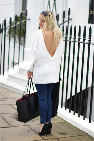 white deep v Lookbook Store jumper - black Missguided shoes