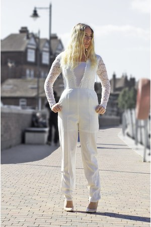 white lace jumpsuit Lydia Bright bodysuit