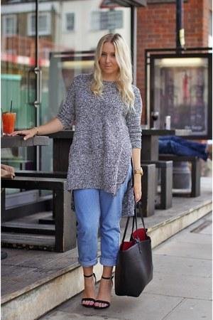 black new look shoes - navy mom topshop Topshop jeans - black Zara bag