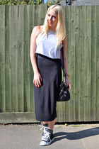 black midi skirt prodigy red skirt - silver crop top Topshop top