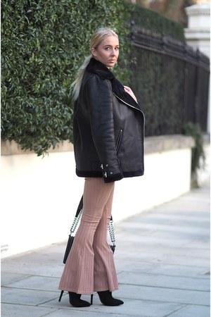 black Boohoo boots - black aviator Missguided coat - black boy bag Chanel bag