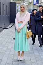 aquamarine midi full asos skirt - bubble gum River Island jumper