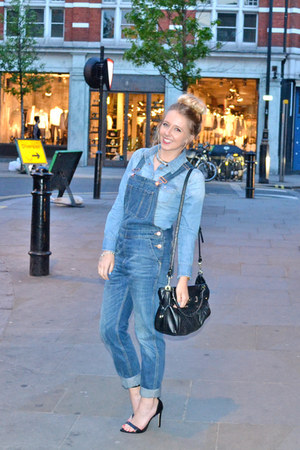 blue dungarees Topshop jeans - blue denim shirt H&amp;M shirt