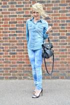 blue denim shirt H&M shirt - blue tie dye jeans so in fashion jeans