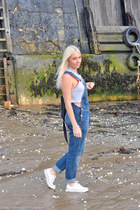 silver crop tank top Topshop top - blue dungarees Topshop jeans
