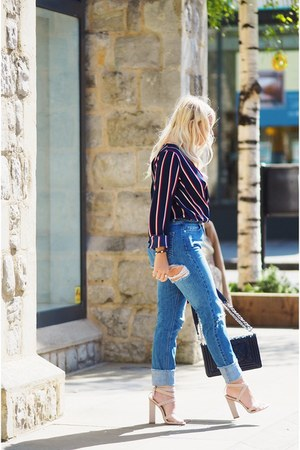 blue wrap blouse Missguided top - blue distressed Missguided jeans