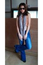 Super Flare jeans - leopard Zara scarf - black La Manilla heels - coral crochet