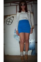 cream striped Topshop top - blue online skirt - burnt orange Zara heels - Foreve