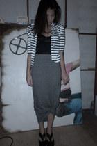 white sm dept blazer - black LaManilla heels - black corset intimate - gray Fore